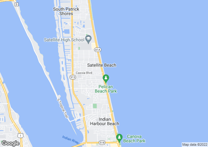 Map for USA - Florida, Brevard County, Satellite Beach