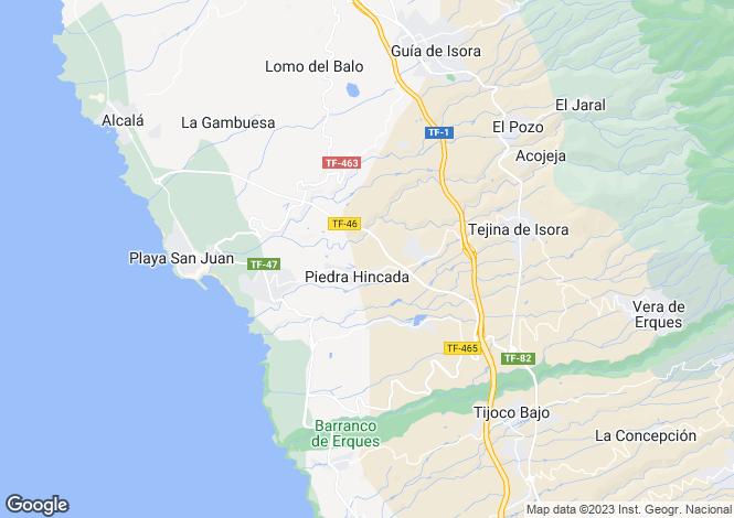 Map for Canary Islands, Tenerife, Piedra Hincada