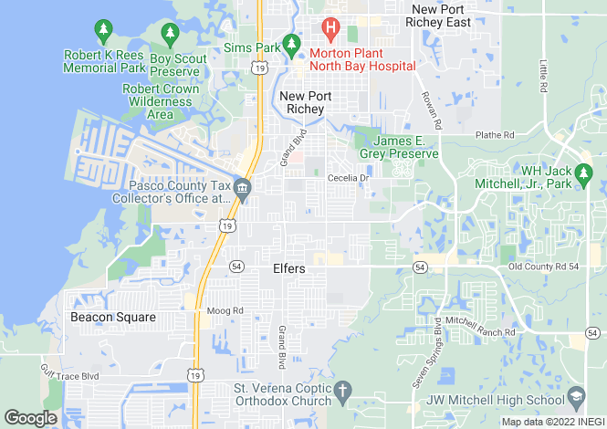 Map for Florida, Pasco County, New Port Richey