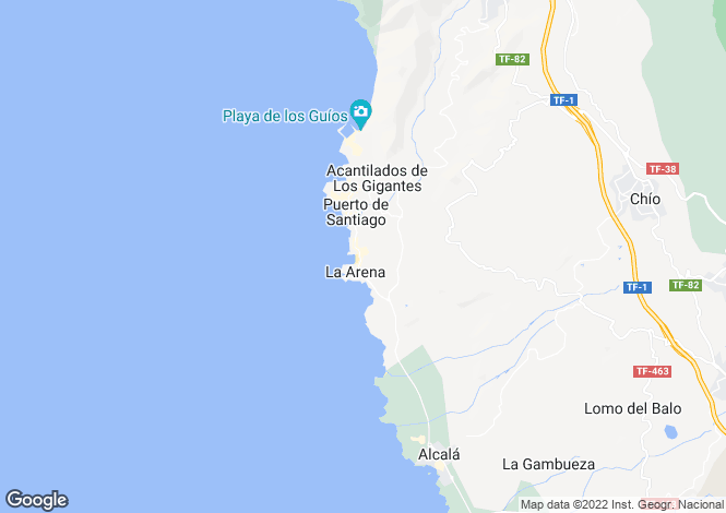 Map for Canary Islands, Tenerife, Playa de la Arena