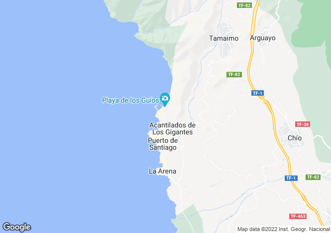 Map for Canary Islands, Tenerife, Los Gigantes