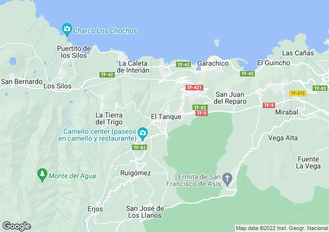 Map for Canary Islands, Tenerife, El Tanque