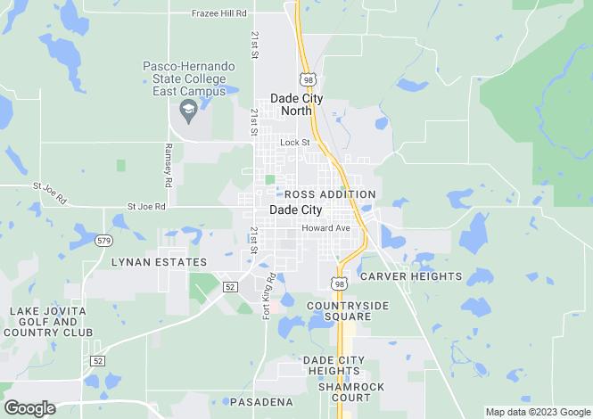 Map for Florida, Pasco County, Dade City