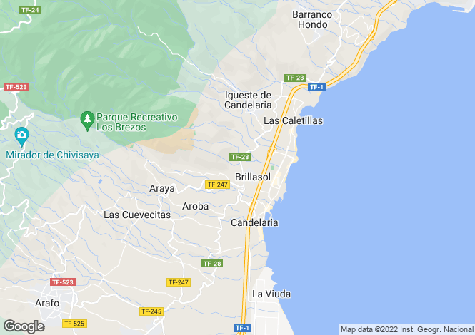 Map for Canary Islands, Tenerife, Candelaria