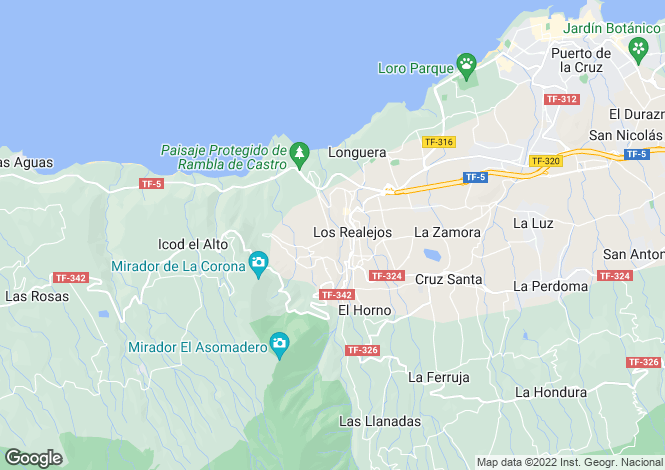 Map for Canary Islands, Tenerife, Los Realejos