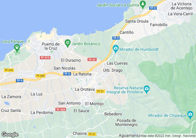 Map for La Orotava, Tenerife, Canary Islands