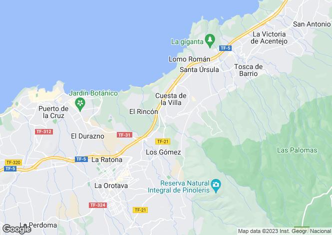 Map for Canary Islands, Tenerife, Santa Ursula