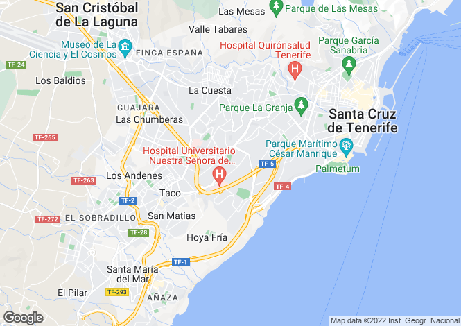 Map for Santa Cruz de Tenerife, Tenerife, Canary Islands