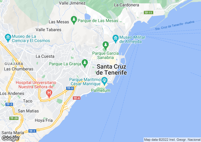 Map for Canary Islands, Tenerife, Santa Cruz de Tenerife
