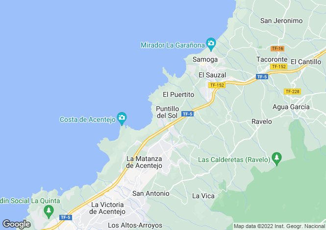 Map for Canary Islands, Tenerife, La Matanza De Acentejo