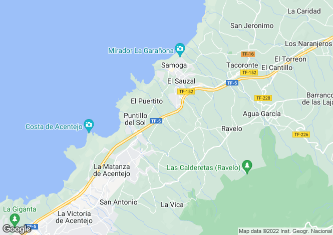 Map for Canary Islands, Tenerife, La Matanza De Acentejo