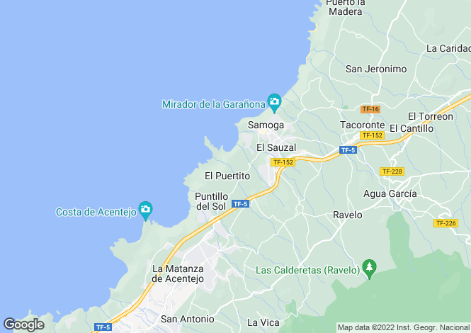 Map for Canary Islands, Tenerife, El Sauzal