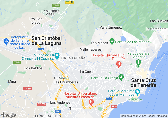 Map for San Cristobal De La Laguna, Tenerife, Canary Islands