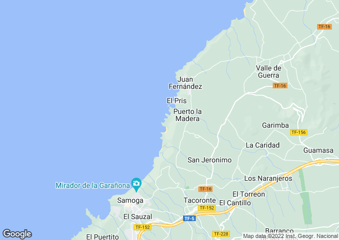 Map for Canary Islands, Tenerife, Tacoronte