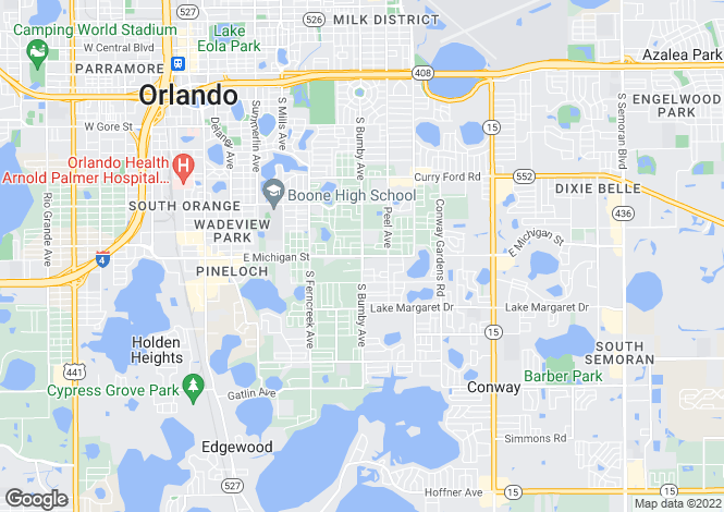 Map for Florida, Orange County, Orlando