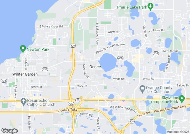 Map for Ocoee, Orange County, Florida