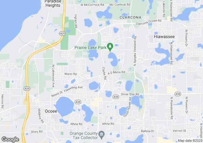 Map for USA - Florida, Orange County, Ocoee