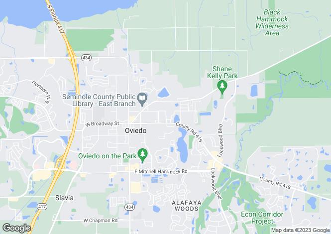 Map for USA - Florida, Seminole County, Oviedo