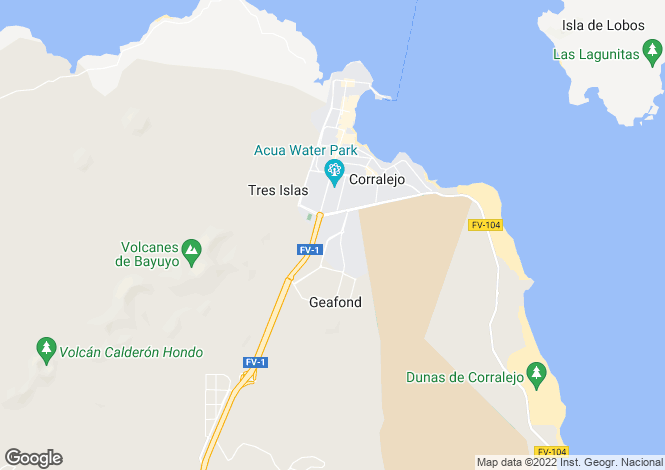 Map for Corralejo, Fuerteventura, Canary Islands