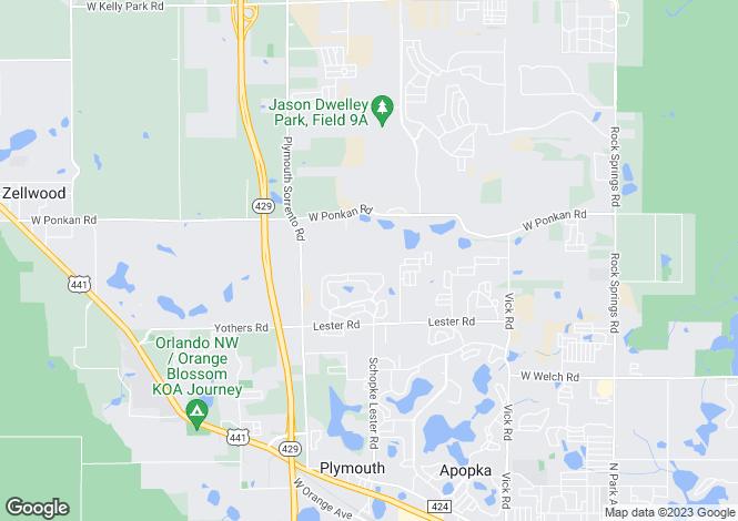 Map for USA - Florida, Orange County, Apopka