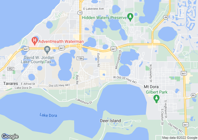 Map for Florida, Lake County, Mount Dora