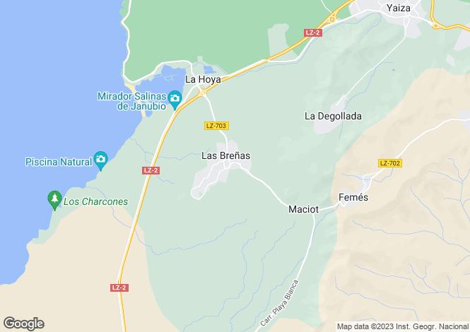 Map for Las Breñas, Lanzarote, Canary Islands