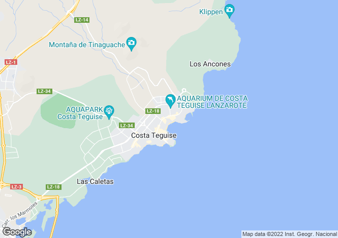 Map for Canary Islands, Lanzarote, Costa Teguise