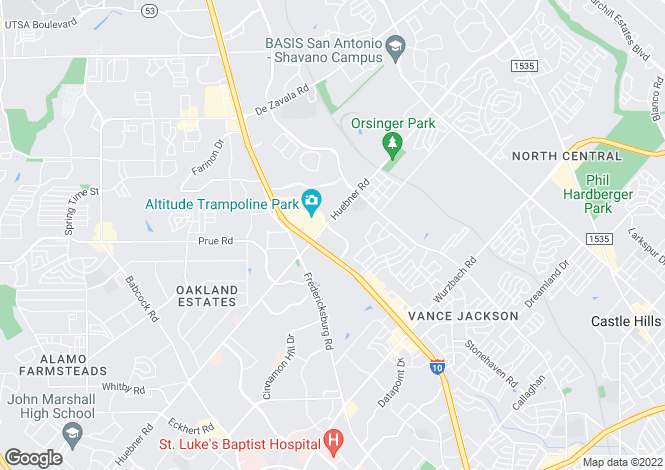 Map for USA - Texas, Bexar County, San Antonio