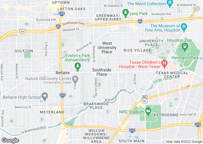 Map for USA - Texas, Harris County, Southside Place