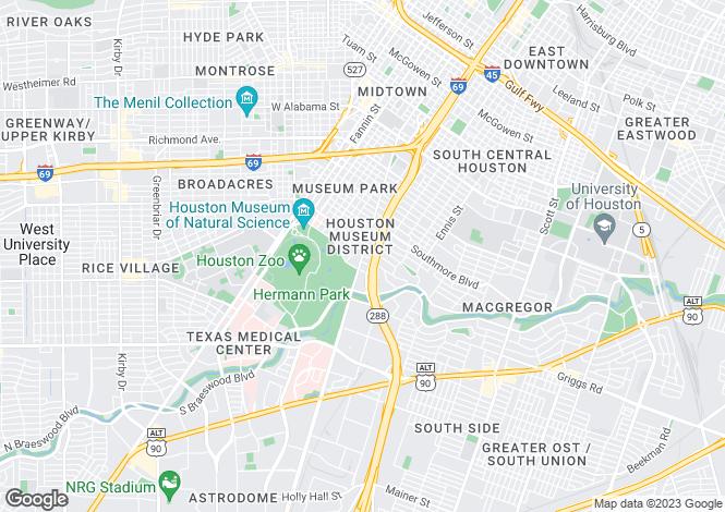 Map for Texas, Harris County, Houston