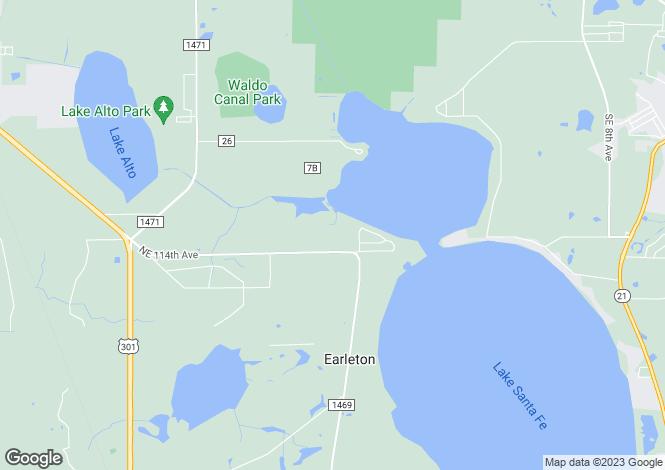 Map for USA - Florida, Alachua County, Waldo