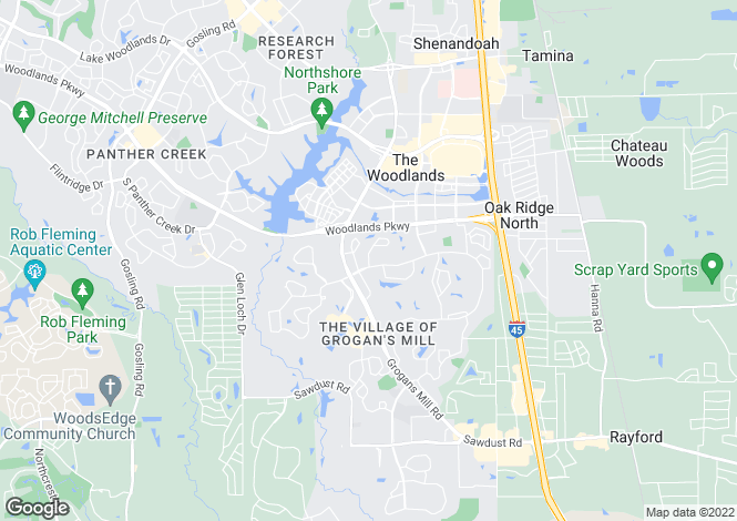 Map for USA - Texas, Montgomery County, The Woodlands