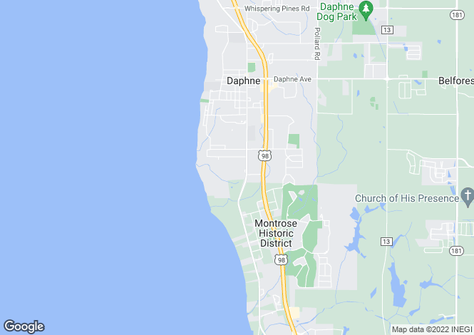 Map for Alabama, Baldwin County, Daphne