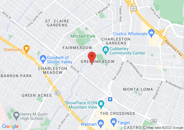 Map of 303 Parkside Dr, Palo Alto, CA 94306, USA