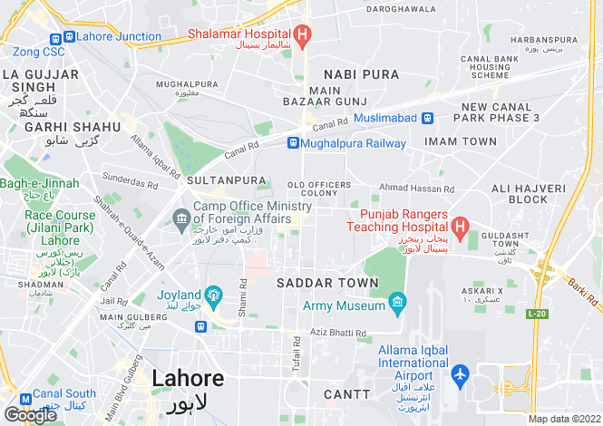 Map for Lahore, Punjab