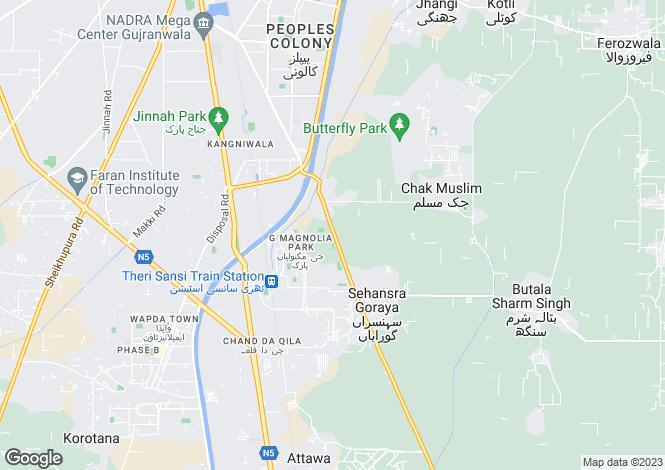 Map for Gujranwala, Punjab