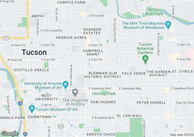 Map for USA - Arizona, Pima County, Tucson