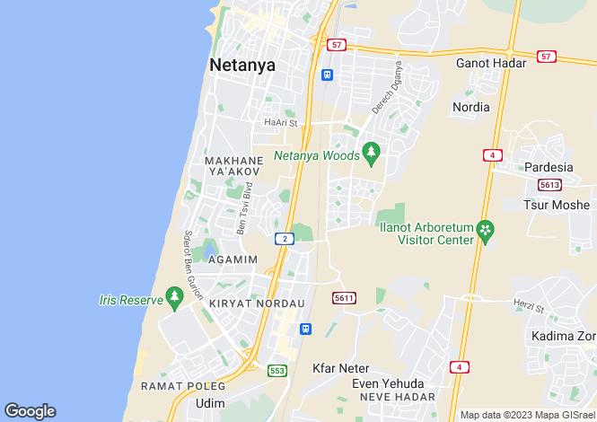 Map for Netanya, HaMerkaz