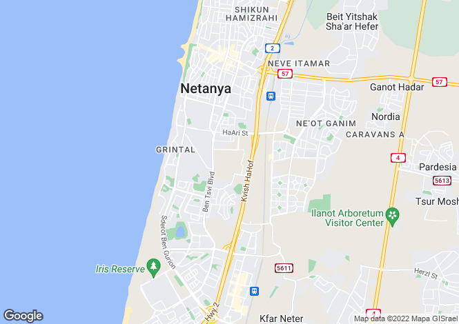 Map for Netanya, HaMerkaz