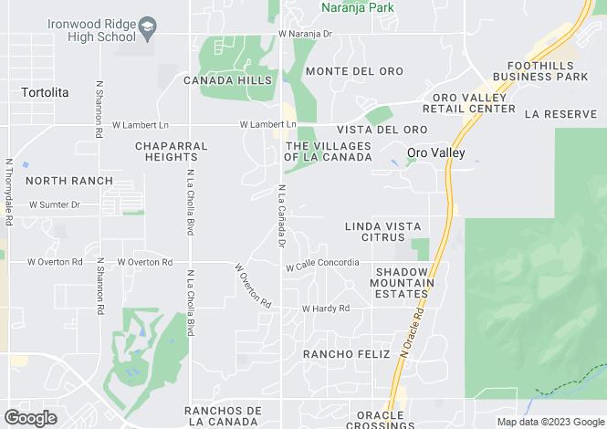Map for USA - Arizona, Pima County, Oro Valley