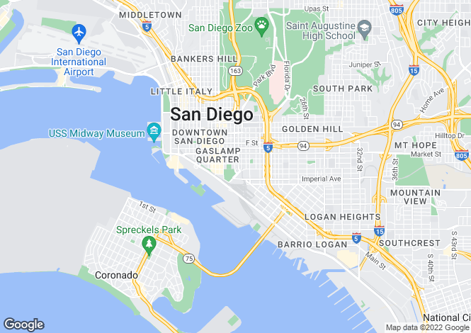 Map for California, San Diego County, San Diego