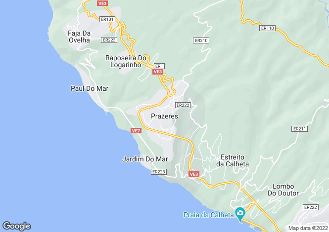 Map for Madeira, Prazeres