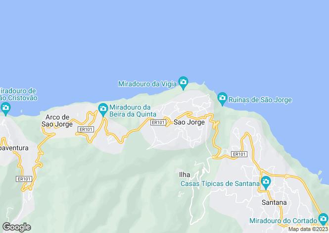 Map for Madeira, Santana