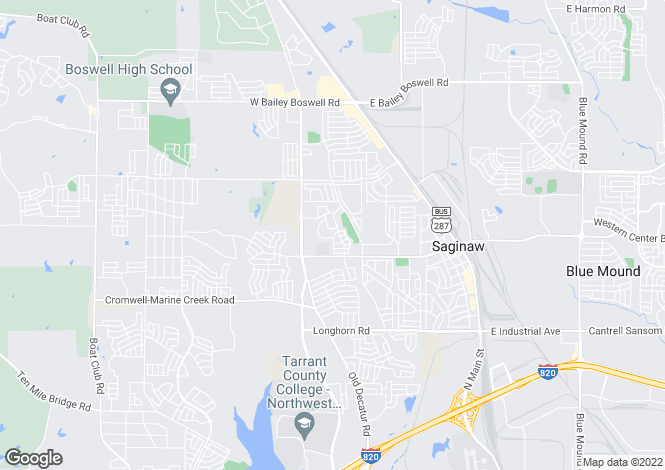 Map for USA - Texas, Tarrant County, Saginaw