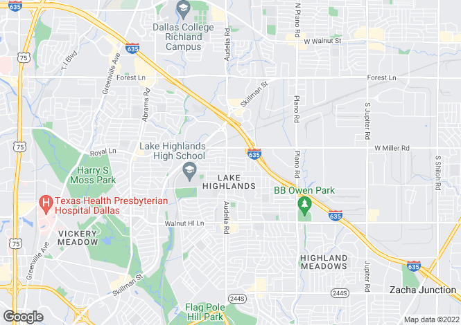 Map for Texas, Dallas County, Dallas