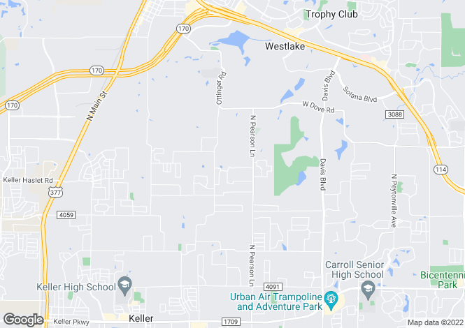 Map for USA - Texas, Tarrant County, Keller