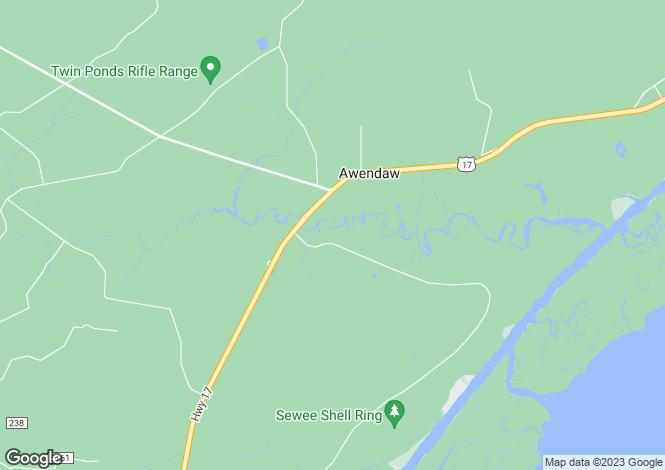 Map for USA - South Carolina, Charleston County, Awendaw