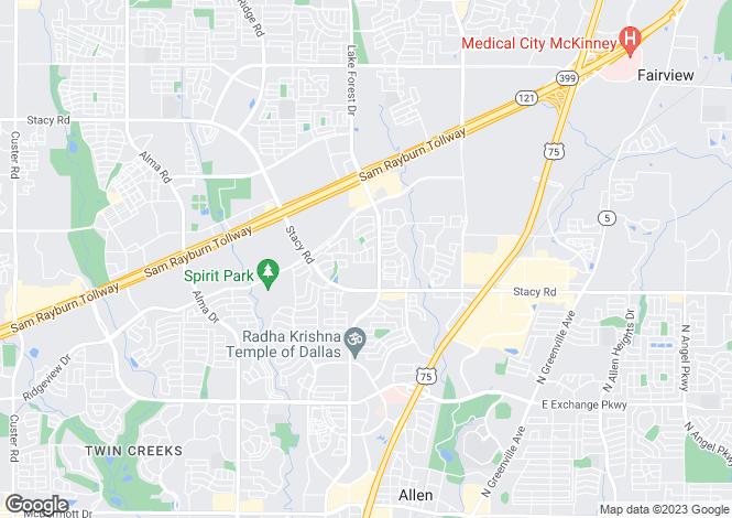 Map for USA - Texas, Collin County, Allen