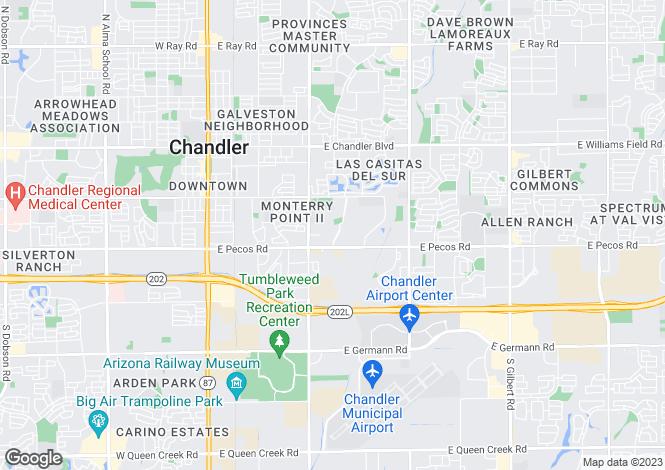 Map for Arizona, Maricopa County, Chandler