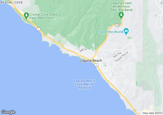 Map for California, Orange County, Laguna Beach